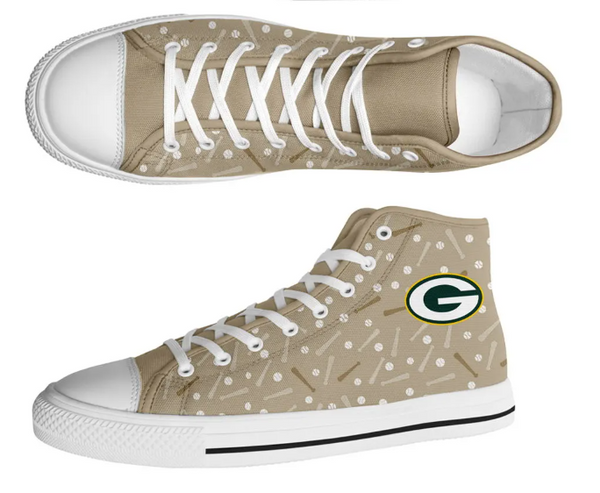 Greenbay Packers Beige High Cut Style NFL Trainers