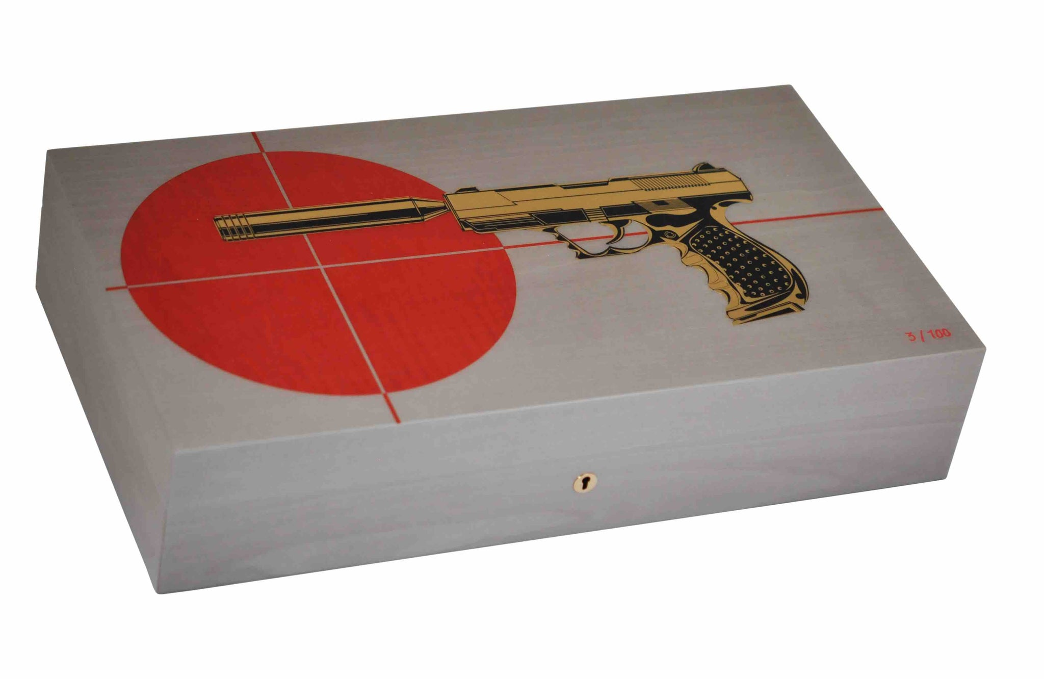 """Gun Target grey and red"" - 110 Cigares - Elie Bleu"