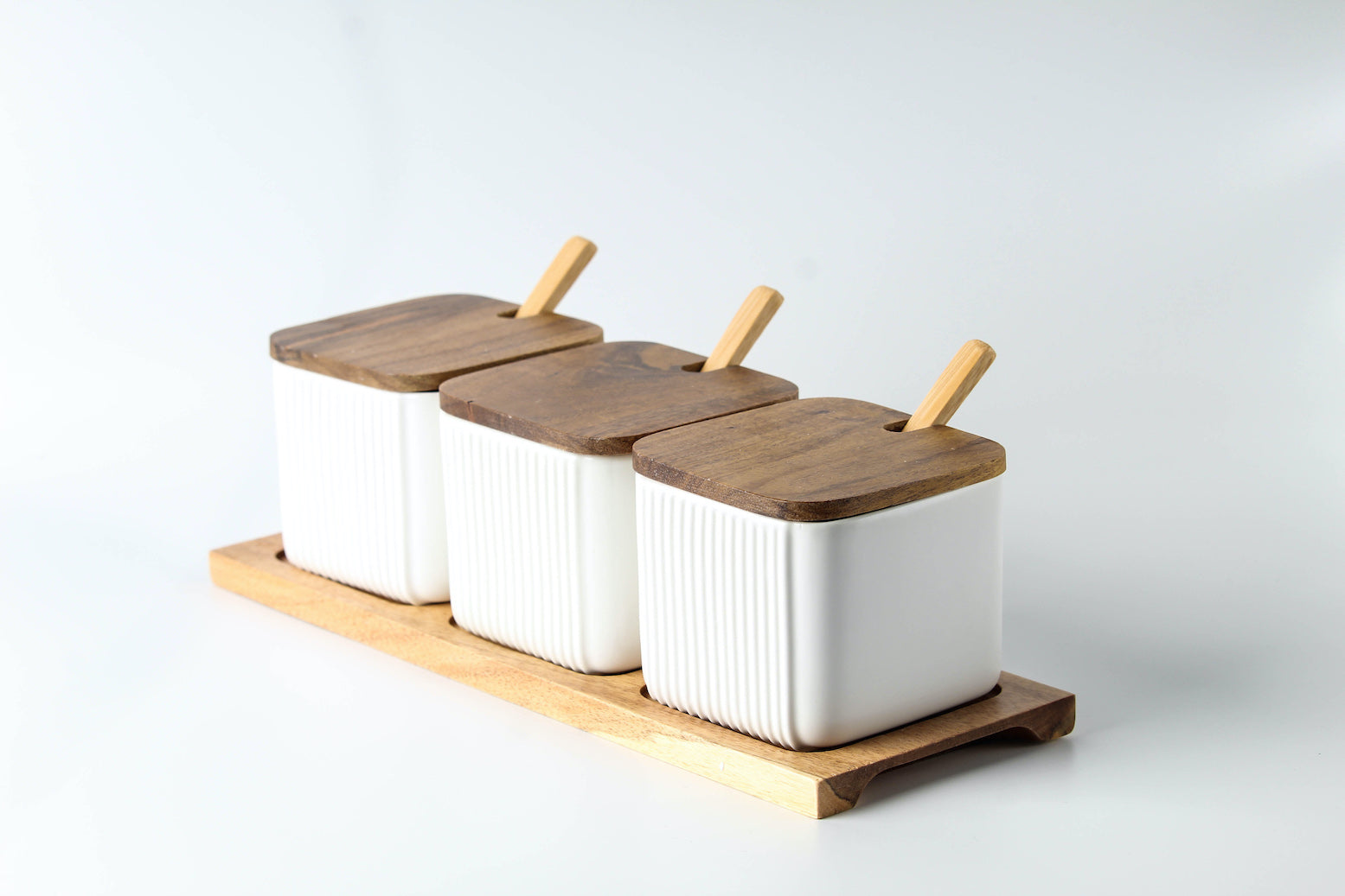Set of 3 Condiment Ceramic Jars with Wood Lid, Spoon and Tray (White)