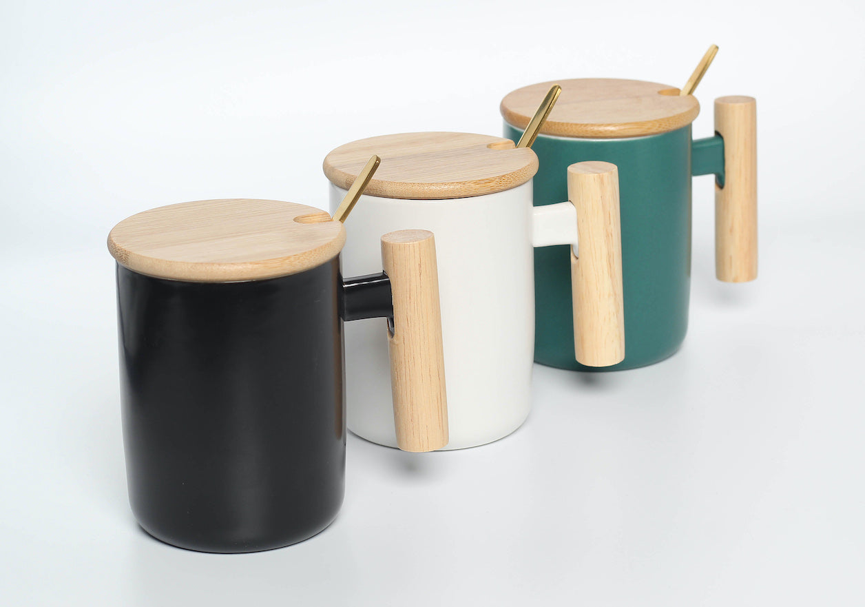Ceramic Mug with Bamboo Lid and Metal Spoon (White)