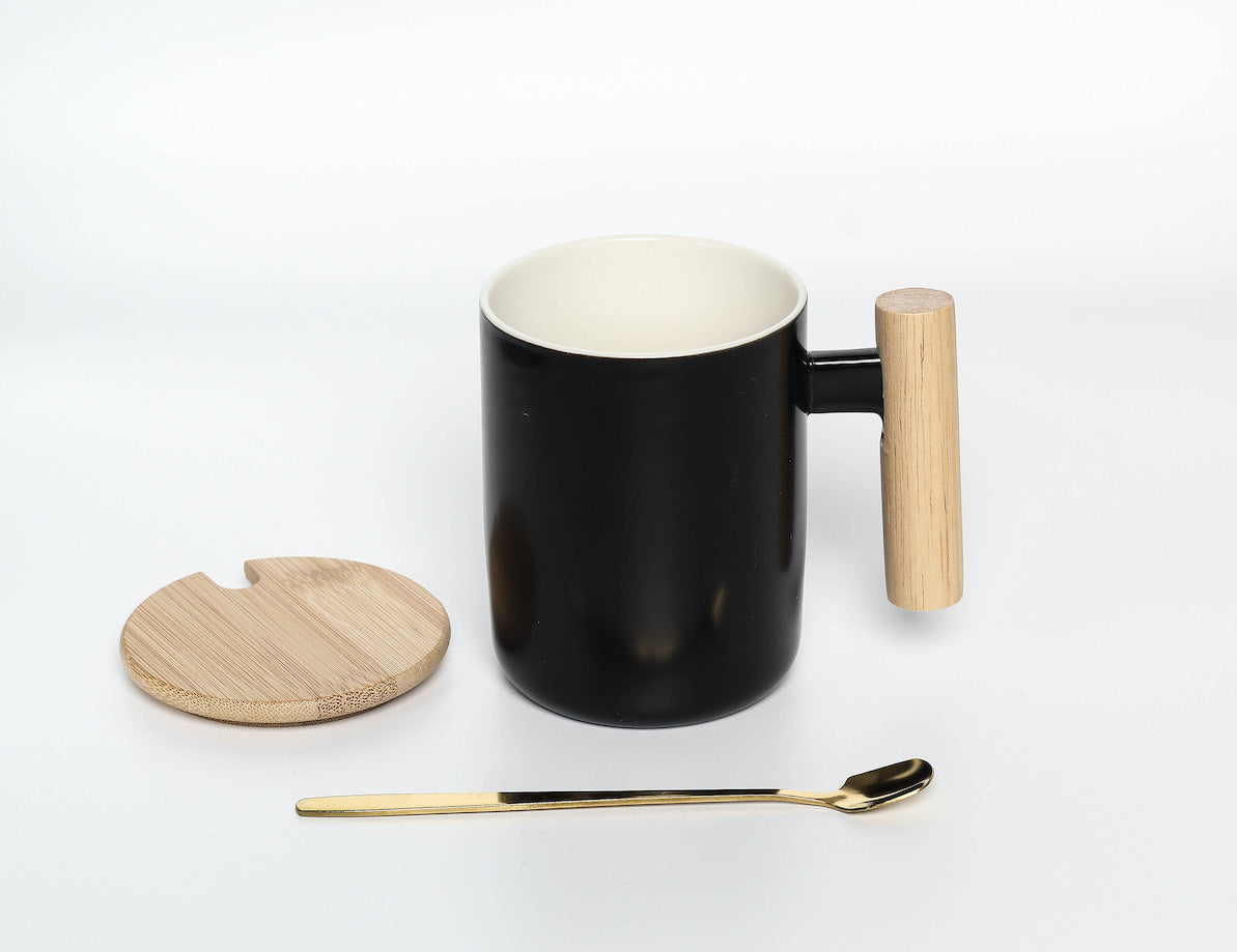 Ceramic Mug with Bamboo Lid and Metal Spoon (Black)