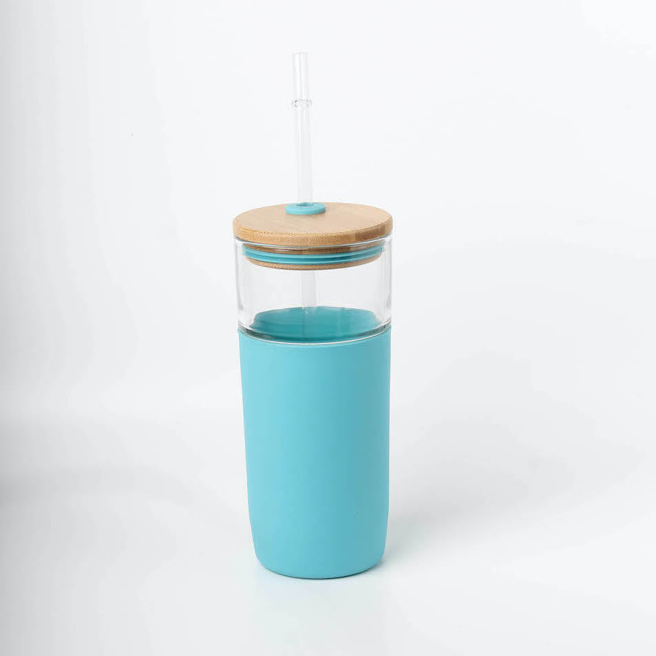Tumbler Glass with Bamboo Lid (Blue)
