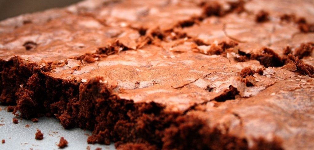 Brownies on a baking tray.