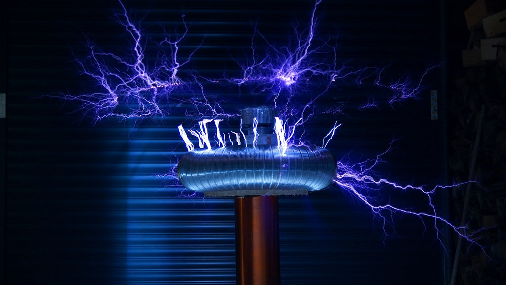 A ring of blue lightning-like electricity hovering above a blue metal tool.