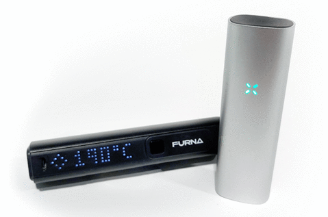 Furna and Pax 3 vapes turned on and lit up.