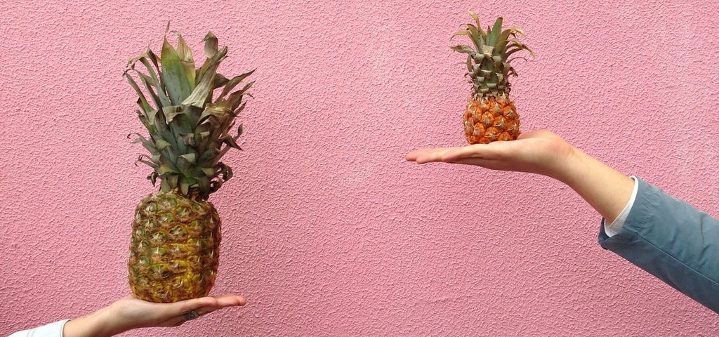 Two outstreched arms, each holding a pineapple. One pineapple is twice the size of the other.