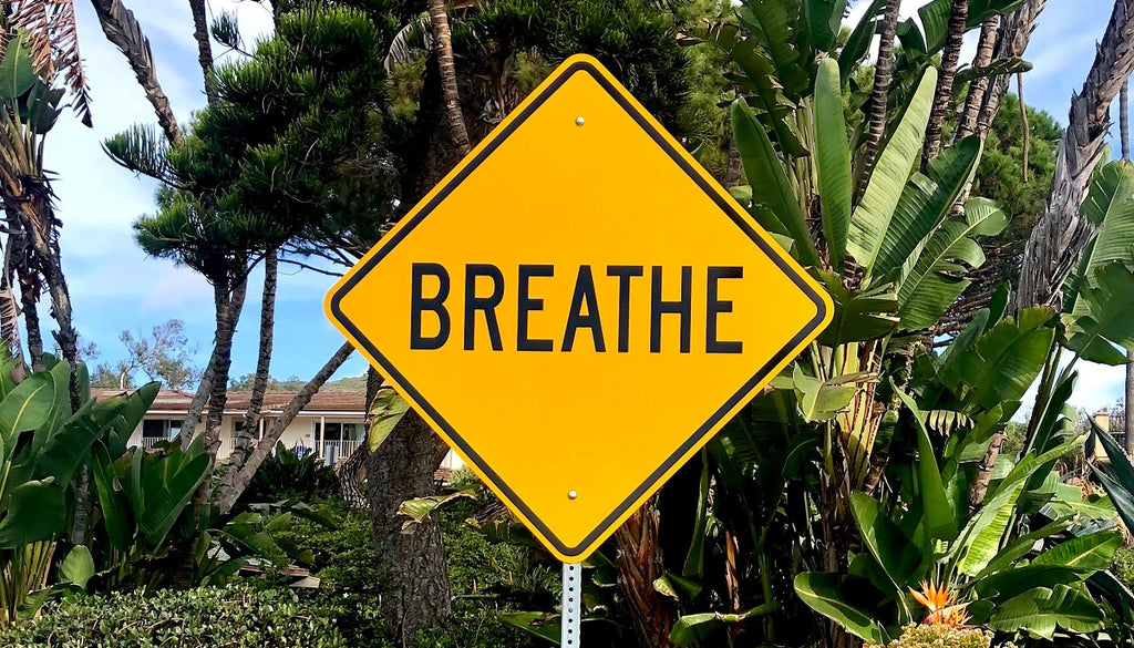 """A yellow road sign that says """"BREATHE"""" with trees in the background."""