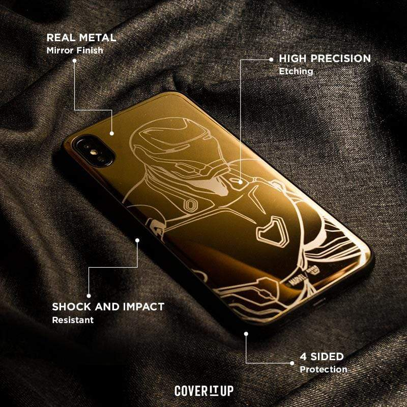 Apple Phone Case Gold Official Marvel Avengers Iron Man Forever iPhone XS Lustre Metal Case