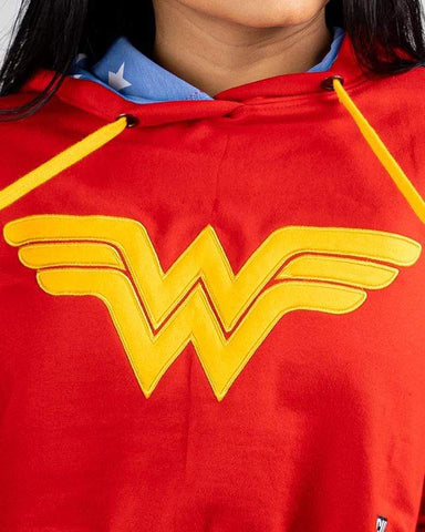 Cover It Up Crop Hoodie Official Wonder Woman Crop Hoodie