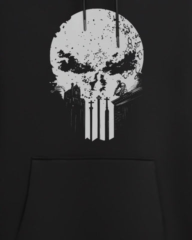 Cover It Up Hoodie Official Punisher Skull Logo Glow In Dark Hoodie