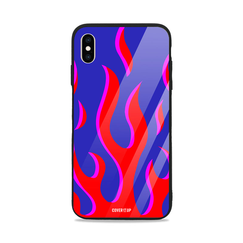 Red And Blue Flames Glass Case