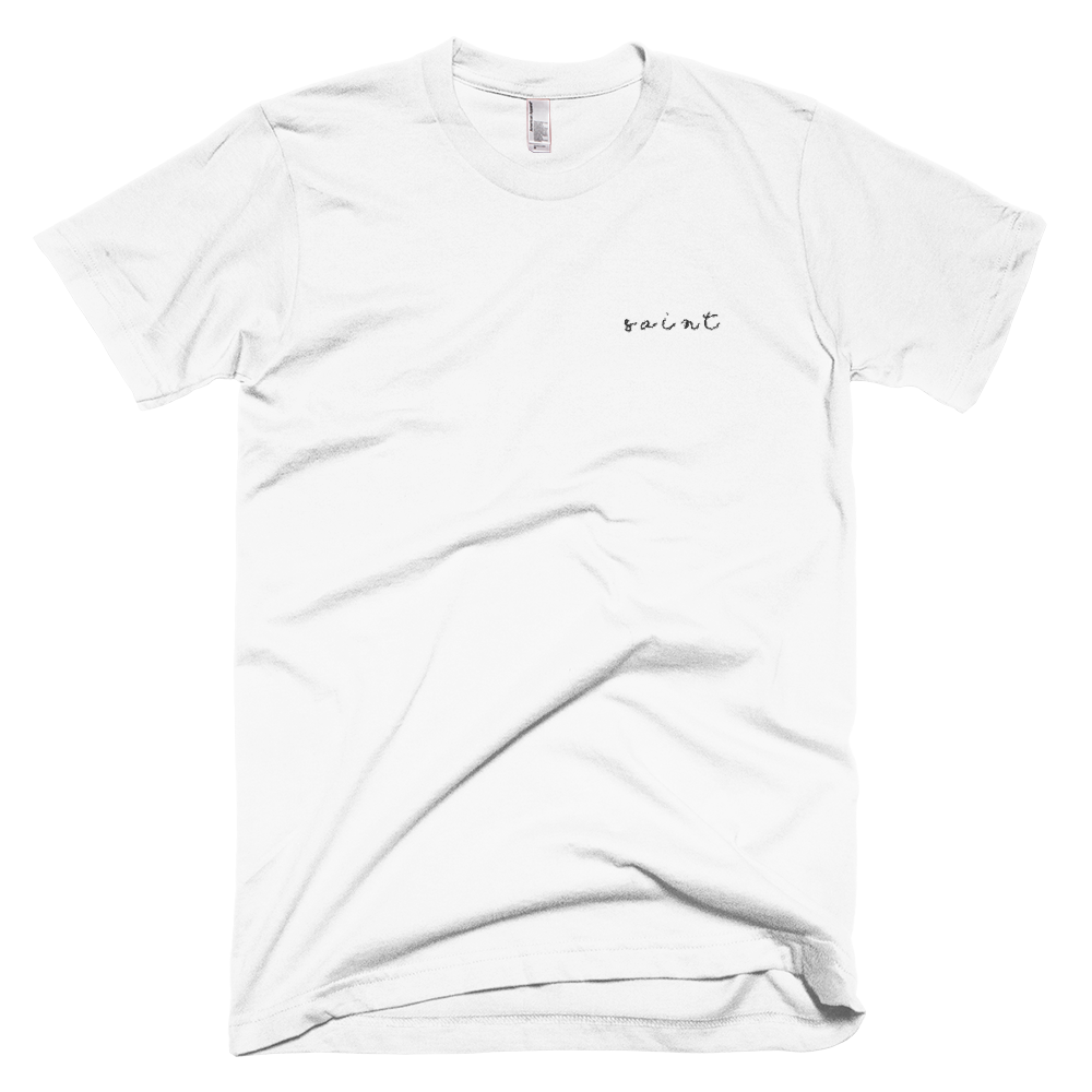 "White ""Saint"" Embroidered T-Shirt"