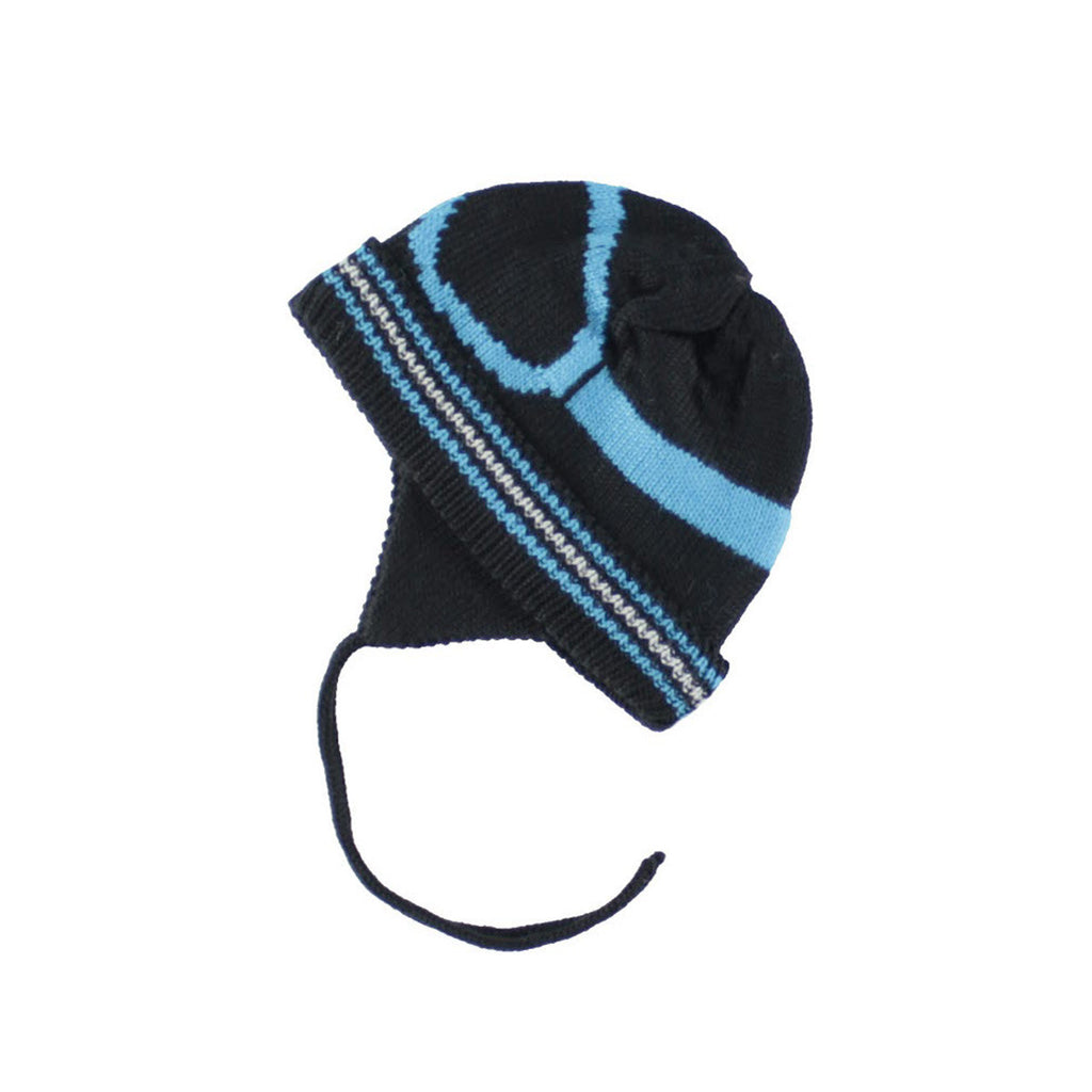 Deux Par Deux BoysSki Goggle Visor Winter Ski Hat Black Blue Tuque with Ear Flaps Size 2-6 Years - Rebelle Kids
