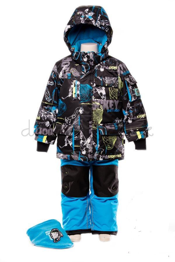 Deux Par Deux Snowsuit Boys Hockey Style 2-piece and Neck Warmer Atomic Blue - Rebelle Kids - 1