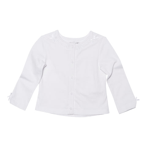 Deux Par Deux Fizzy Pop Solid Jersey Cardigan WHITE - Rebelle Kids - 1