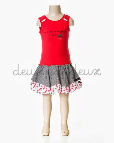 Deux Par Deux Girls La Cerise sur Le Gateau Cherry Red Dress - Rebelle Kids - 1