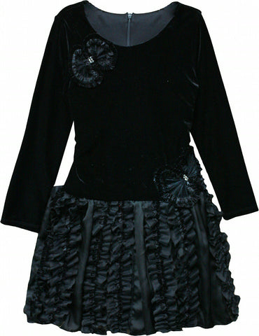 Isobella & Chloe Jazzlyn Black Velvet Ruffle Tulle Dress - Rebelle Kids - 1