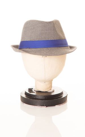 Deux Par Deux Grey Houndstooth Fedora with Blue Petit Gentleman Boys Hat - Rebelle Kids - 1