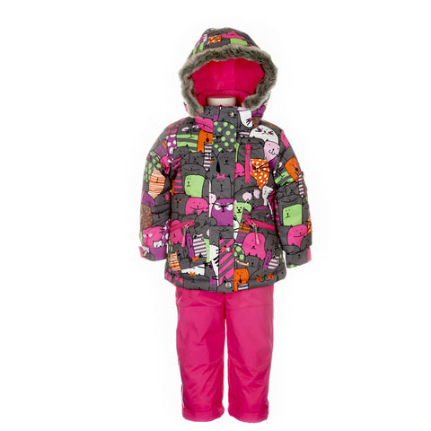 Deux Par Deux Girls Snowsuit & Neck Warmer Three Piece Chats Par Ci Chats 3 Piece Set - Rebelle Kids - 1
