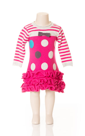 Deux Par Deux Girls Princess De Nord Polka Dot Knit Dress Fuschia Pink Size 3-6 YRS Ruffled Bottom - Rebelle Kids - 1