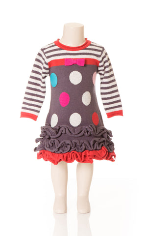 Deux Par Deux Girls Princess De Nord Polka Dot Knit Dress Nine Iron Gray Size 3-6 YRS - Rebelle Kids - 1