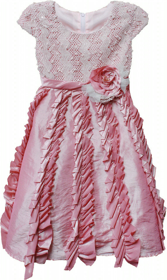 Isobella & Chloe Candied Ginger Ruffle Pink Formal Tulle Dress - Rebelle Kids - 1