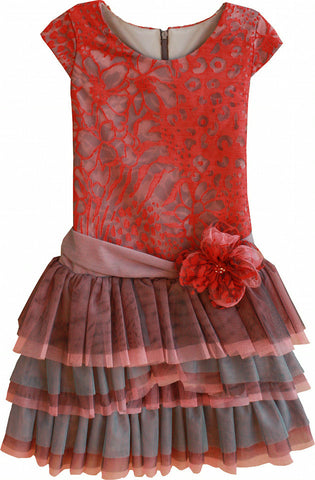 Isobella & Chloe Coral Kiss Tulle Dress - Rebelle Kids