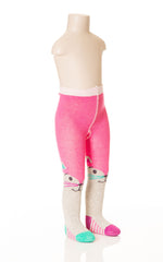 Deux Par Deux Girls Patte De Velours Knit Tights with Eyes Size 4-7 Yrs Gray Pink - Rebelle Kids - 1