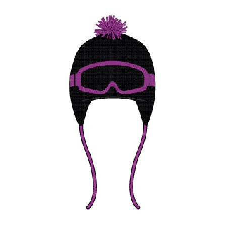 Deux Par Deux Girls Aime La Neige Winter Ski Hat Black Purple Cactus with Ear Flap Size 3-6 YRS - Rebelle Kids - 1