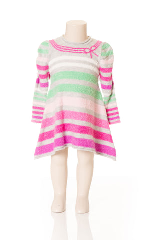 Deux Par Deux Girls Patte De Velours Striped Knit Dress Size 2-5 YRS - Rebelle Kids - 1