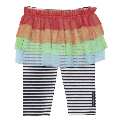 Deux Par Deux Catwalk Striped Leggings with Rainbow Ruffle - Rebelle Kids