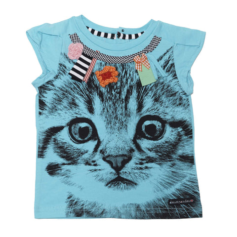 Deux Par Deux Catwalk Printed Cat T-Shirt Blue - Rebelle Kids - 1