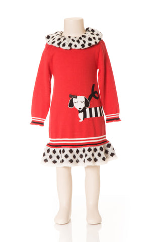 Deux Par Deux Girls Dog Story Dalmatian Spot Knit Dress Red Size 3-6 YRS - Rebelle Kids - 1