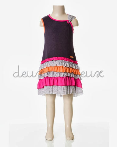 Deux Par Deux Girls Eye on Fashion Frill Dress Nine Iron - Rebelle Kids - 1