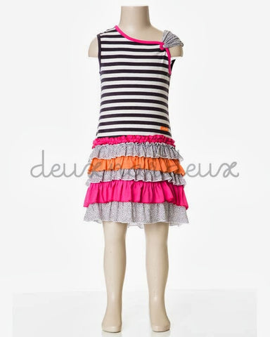 Deux Par Deux Girls Eye on Fashion Frill Dress Striped - Rebelle Kids - 1