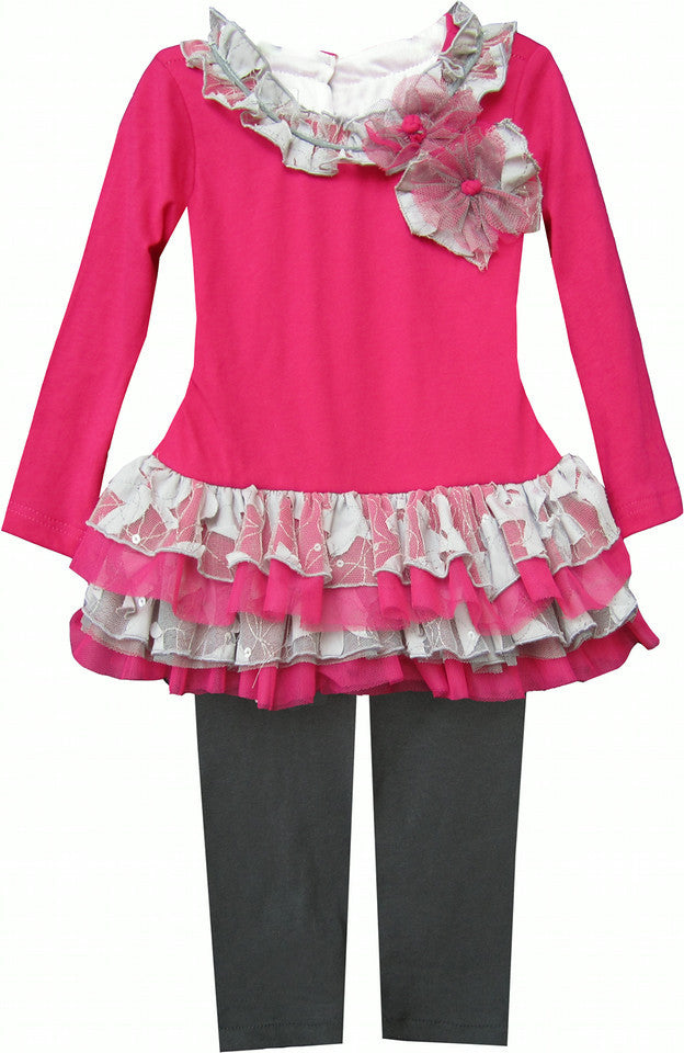 Isobella & Chloe Sophia Fuschia Pink and Gray 2 piece Tunic Tulle Set - Rebelle Kids