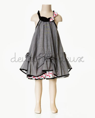 Deux Par Deux Girls La Cerise sur Le Gateau Plaid Gather Dress - Rebelle Kids - 1