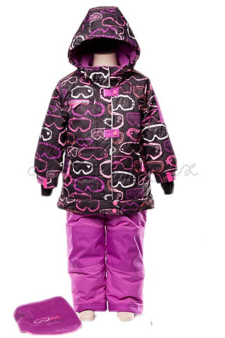 Deux Par Deux Girls Snowsuit & Neck Warmer - 2 piece Aime La Neige Collection - Rebelle Kids - 1