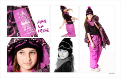 Deux Par Deux Girls Aime La Neige Winter Ski Hat Black Purple Cactus with Ear Flap Size 3-6 YRS - Rebelle Kids - 2