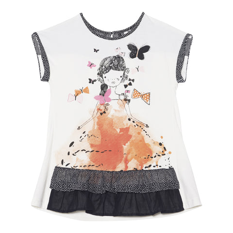 Deux Par Deux Miss Butterfly Printed Short Sleeve Tunic Size 2-12 Years - Rebelle Kids - 1