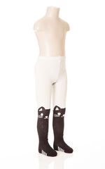 Deux Par Deux Girls Comme Chiens et Chats Knit Tights with Eyes Size 2-10 Yrs Black White - Rebelle Kids - 1