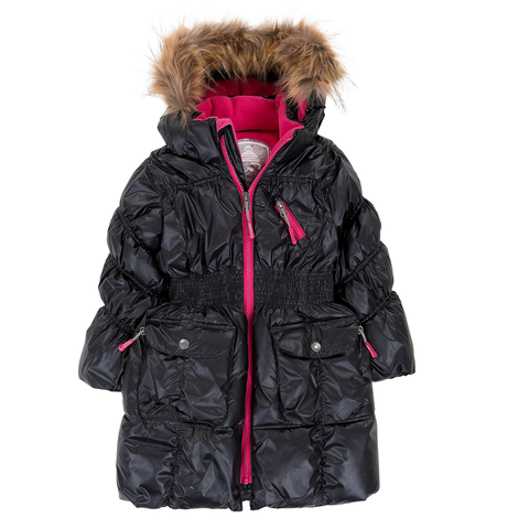 Deux Par Deux Fluffy Puffy Girls Long Coat Black With Fur Trim Size 3 to 12 Years - Rebelle Kids - 1