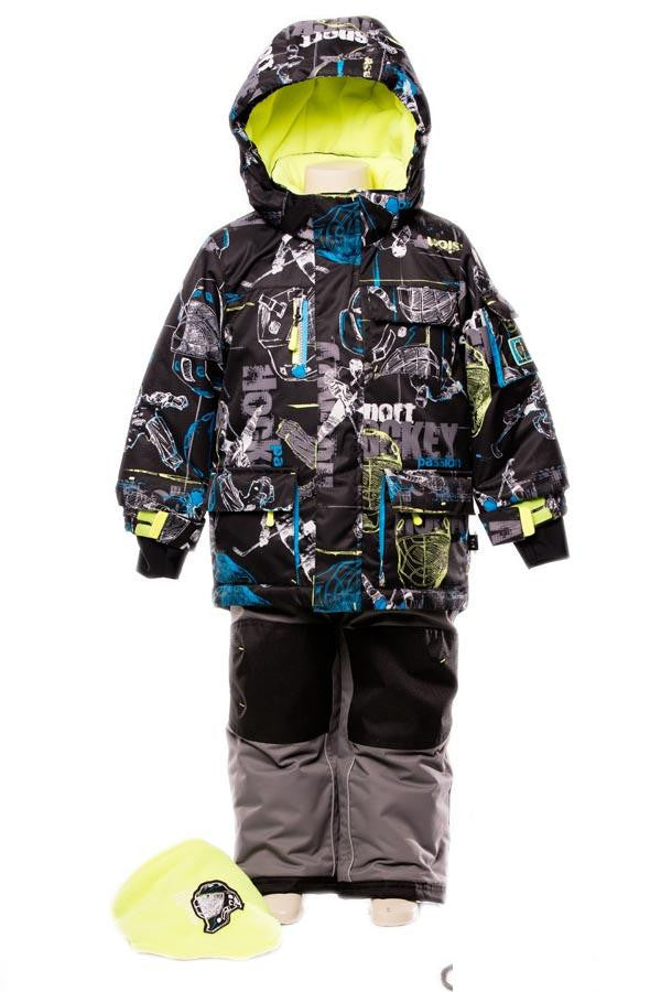 Deux Par Deux Snowsuit Boys Hockey Style 2-piece and Neck Warmer CastleRock Yellow Grey - Rebelle Kids - 1