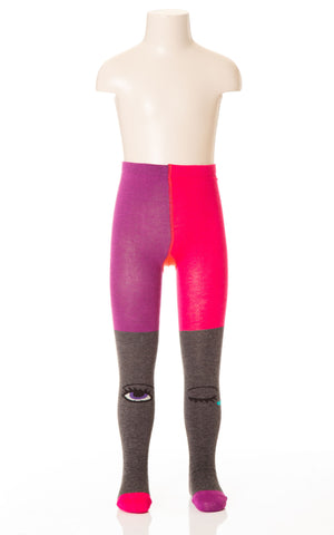 Deux Par Deux Girls Coup de Coeur Knit Tights with Eyes Size 4-7 YRS - Rebelle Kids - 1