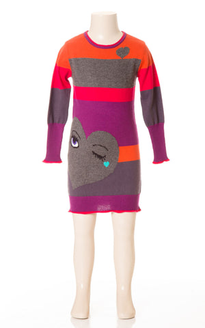 Deux Par Deux Girls Coup De Coeur Knit Dress Wink Eye Heart Size 3-6 YRS - Rebelle Kids - 1