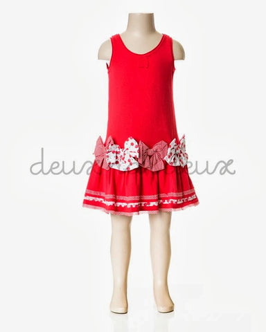 Deux Par Deux Girls La Cerise sur Le Gateau Red Jersey Dress - Rebelle Kids - 1