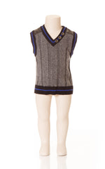 Deux Par Deux Petit Gentleman Boy's Knit Vest Grey V Neck Vest Fall 2014 - Rebelle Kids - 1