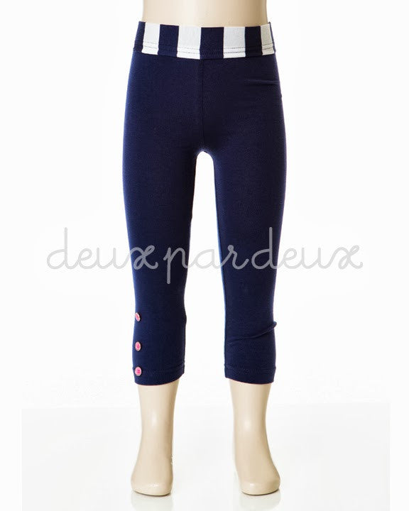 Deux Par Deux Girls Retro Chic Leggings Navy White - Rebelle Kids - 1