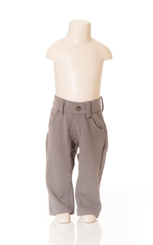 Deux Par Deux Petit Gentleman Boy's Castle Rock Grey Gray Canvas Stretch Pant Hipster Style Fall 2014 - Rebelle Kids - 1