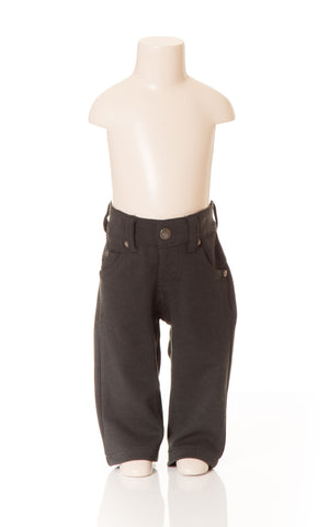 Deux Par Deux Petit Gentleman Boy's Jet Black Canvas Stretch Pant Hipster Style Fall 2014 - Rebelle Kids - 1